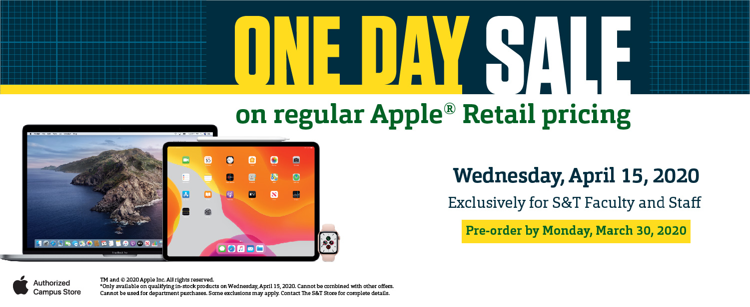 Apple One Day Sale, April 15.  Pre-order now!