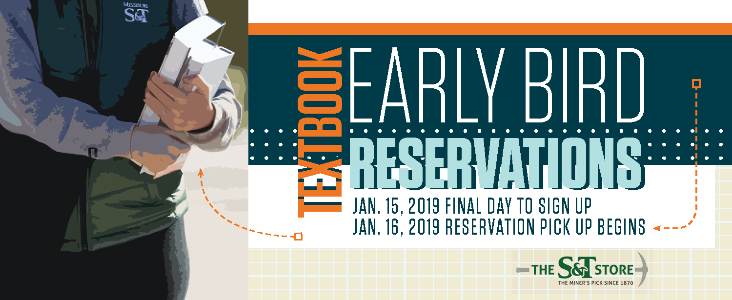 Early Bird textbook reservation - reserve your books now!